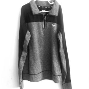 PINK heather grey and black quarter zip pullover